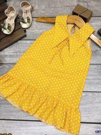 Đầm chấm bi cổ sen cho bé gái từ 1-7 tuổi