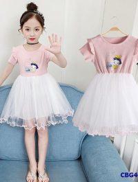 Đầm công chúa họa tiết Milk phối tùng voan xinh yêu cho bé gái từ 3-7 tuổi