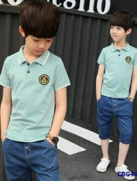 Sét áo thun cổ trụ XANH RÊU và quần jean cho bé trai từ 5-12 tuổi
